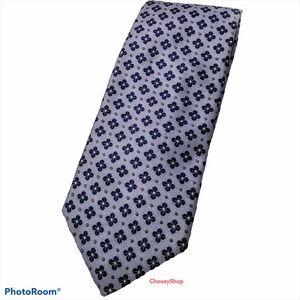 XL Robert Talbott Light Blue Navy Gray Flower Tie